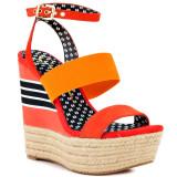 Jessica Simpson Cosset tomato red multi platform wedge sandals
