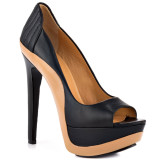 Clive – black leather luxurious peep toe pumps by L.A.M.B