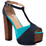 Leena - Blue Suede, chick t-strap platform sandals from Penny loves Kenny