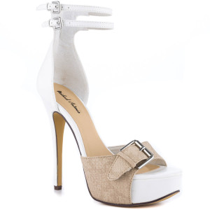 Tamaya White Pu Heels for Cheep by Michael Antonio - Step into this summer with elegance